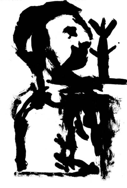 Drawing - Black Ink 290319 3 by Artist Dot