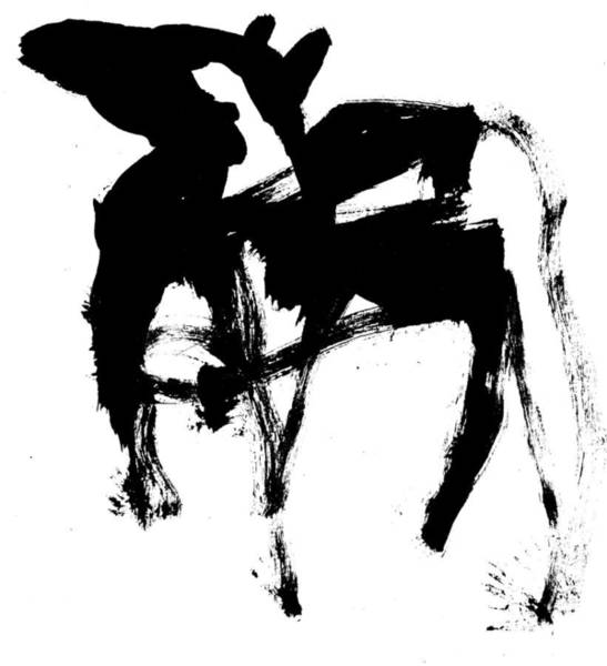 Drawing - Black Ink Dog 290319 19 by Artist Dot