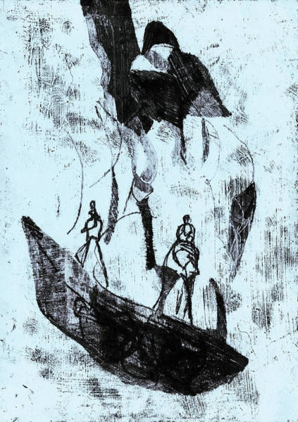 Drawing - Black Ivory 1 Original Bird And Boatsmen by Artist Dot