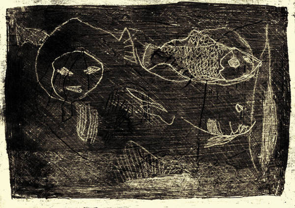 Drawing - Black Ivory 1 Original Printmaking Aquarium by Artist Dot
