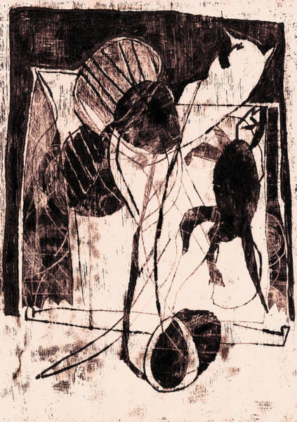 Drawing - Black Ivory 1 Original Printmaking Cats by Artist Dot