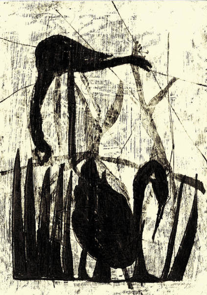 Drawing - Black Ivory 1 Original Printmaking Swan by Artist Dot