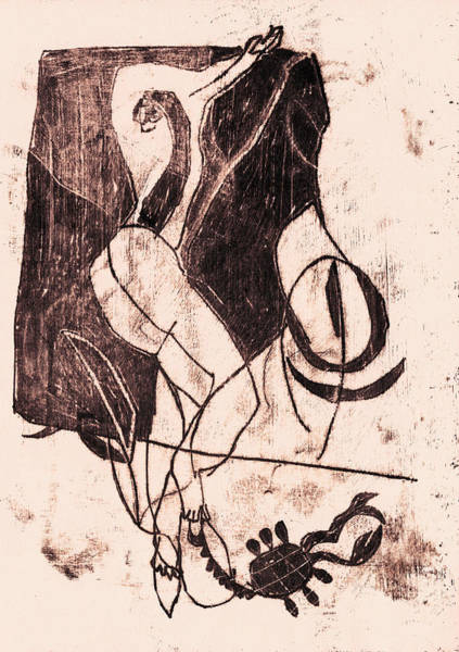 Drawing - Black Ivory 1 Original Scorpion by Artist Dot