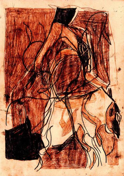 Digital Art - Black Ivory 1 Tinted Pencil Light Red 33 by Artist Dot