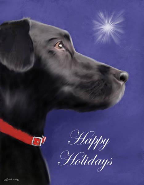 Painting - Black Labrador Retriever - Happy Holidays by Sannel Larson