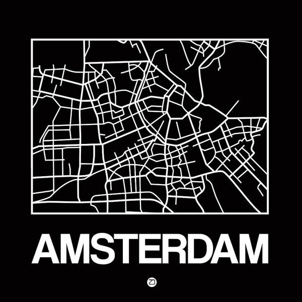Black Map Of Amsterdam Art Print