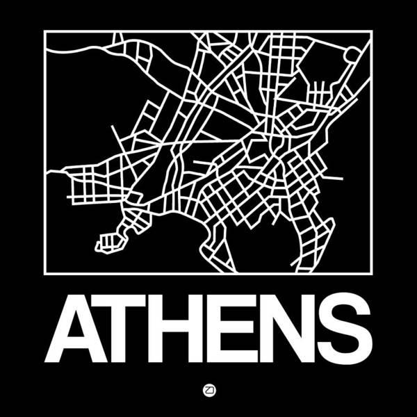 Wall Art - Digital Art - Black Map Of Athens by Naxart Studio