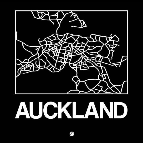 Downtown Digital Art - Black Map Of Auckland by Naxart Studio