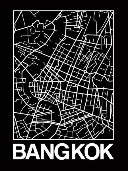 Wall Art - Digital Art - Black Map Of Bangkok by Naxart Studio