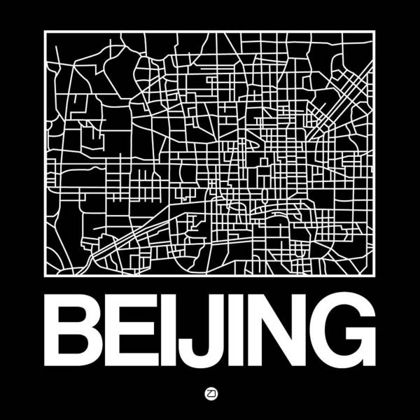Wall Art - Digital Art - Black Map Of Beijing by Naxart Studio