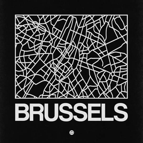 Wall Art - Digital Art - Black Map Of Brussels by Naxart Studio
