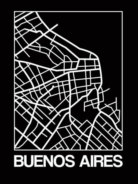 Wall Art - Digital Art - Black Map Of Buenos Aires by Naxart Studio