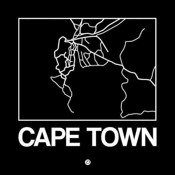 Wall Art - Digital Art - Black Map Of Cape Town by Naxart Studio