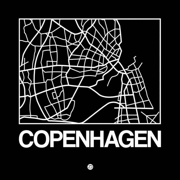 Wall Art - Digital Art - Black Map Of Copenhagen by Naxart Studio