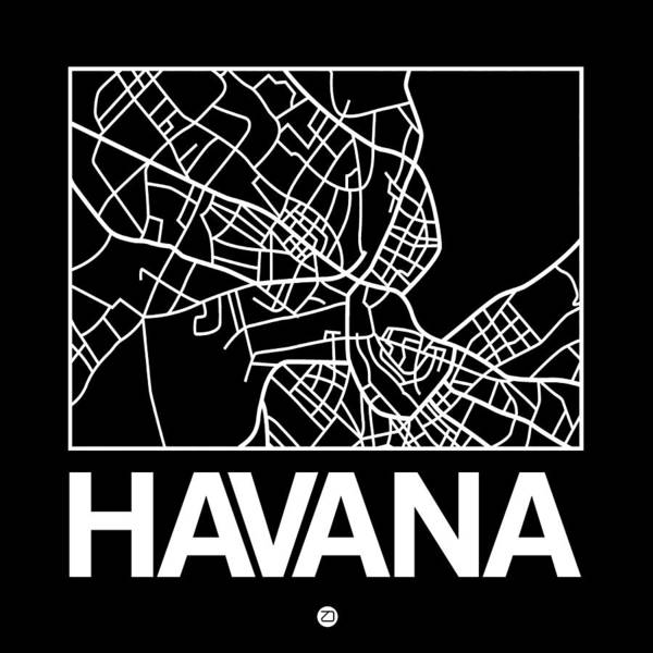 Havana Wall Art - Digital Art - Black Map Of Havana by Naxart Studio