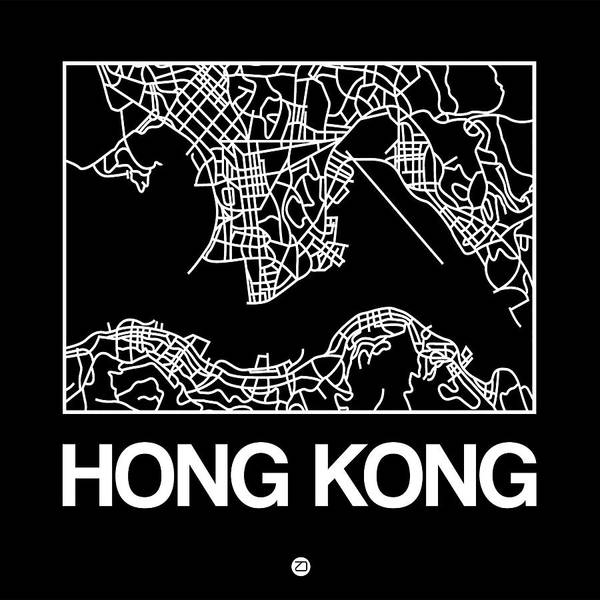 World Traveler Wall Art - Digital Art - Black Map Of Hong Kong by Naxart Studio