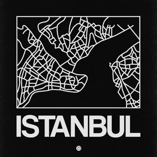 Wall Art - Digital Art - Black Map Of Istanbul by Naxart Studio