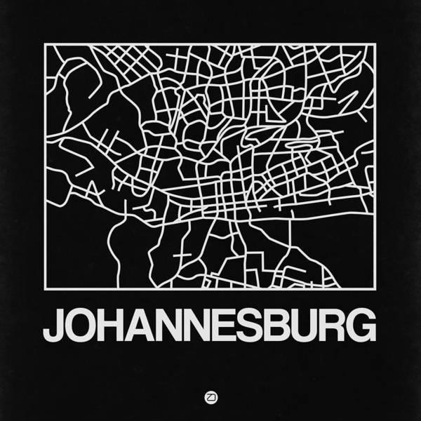 East Africa Digital Art - Black Map Of Johannesburg by Naxart Studio