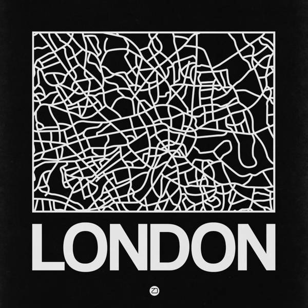 Wall Art - Digital Art - Black Map Of London by Naxart Studio