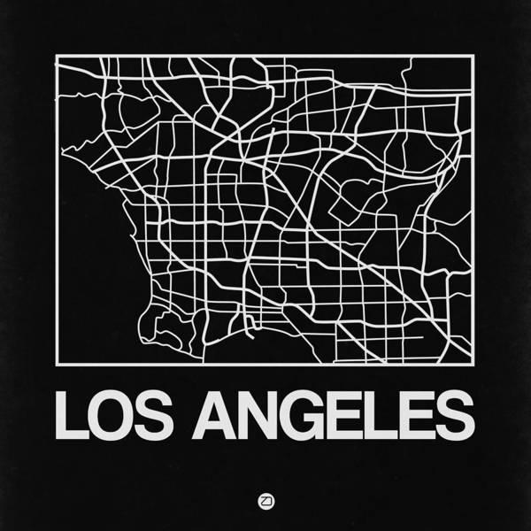 California Digital Art - Black Map Of Los Angeles by Naxart Studio