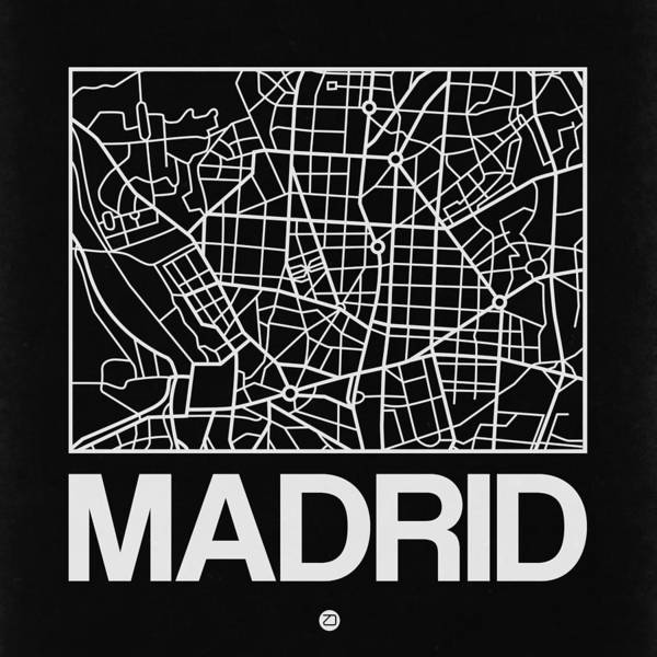 World Traveler Wall Art - Digital Art - Black Map Of Madrid by Naxart Studio