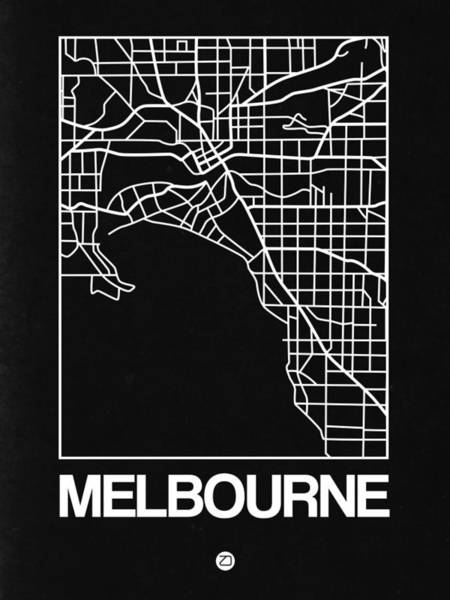 Melbourne Wall Art - Digital Art - Black Map Of Melbourne by Naxart Studio