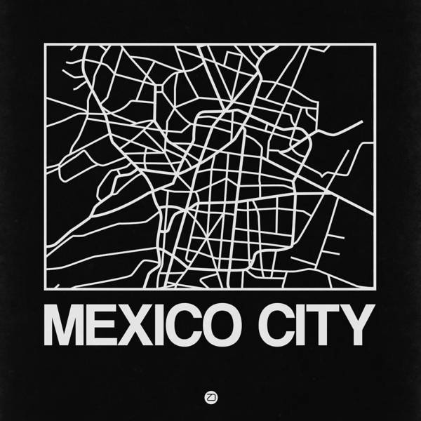 Wall Art - Digital Art - Black Map Of Mexico City by Naxart Studio
