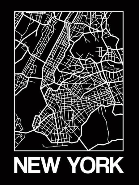 Downtown Digital Art - Black Map Of New York by Naxart Studio