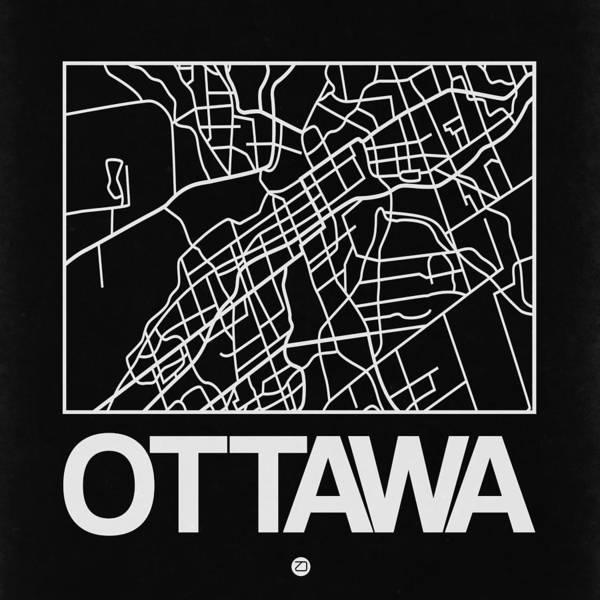 Wall Art - Digital Art - Black Map Of Ottawa by Naxart Studio