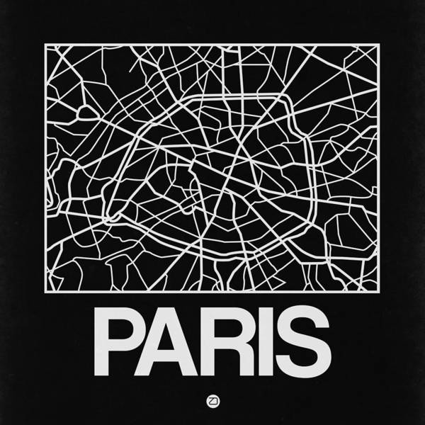 World Traveler Wall Art - Digital Art - Black Map Of Paris by Naxart Studio