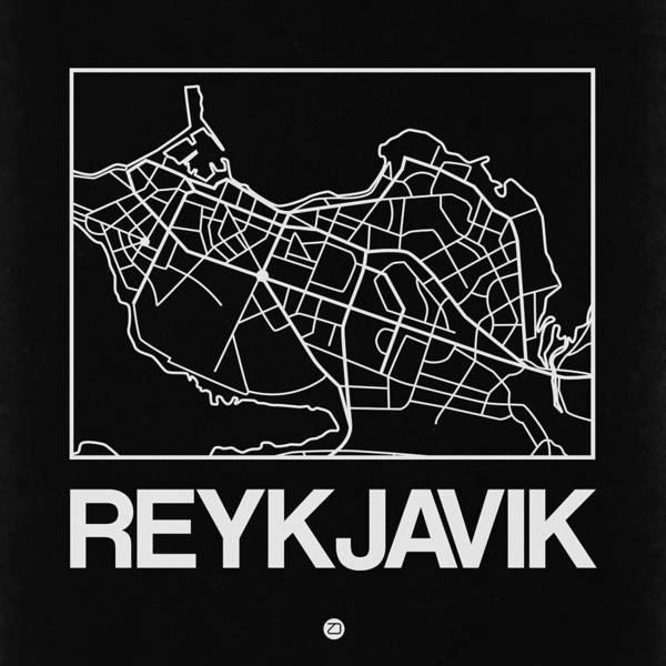 Black Map Of Reykjavik Art Print
