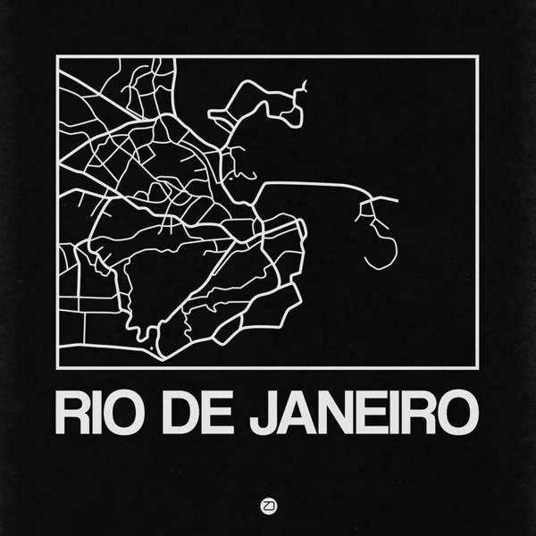 Wall Art - Digital Art - Black Map Of Rio De Janeiro by Naxart Studio