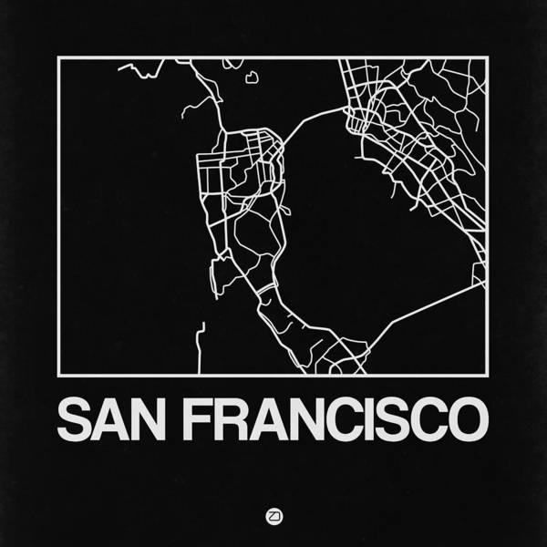 California Digital Art - Black Map Of San Francisco by Naxart Studio