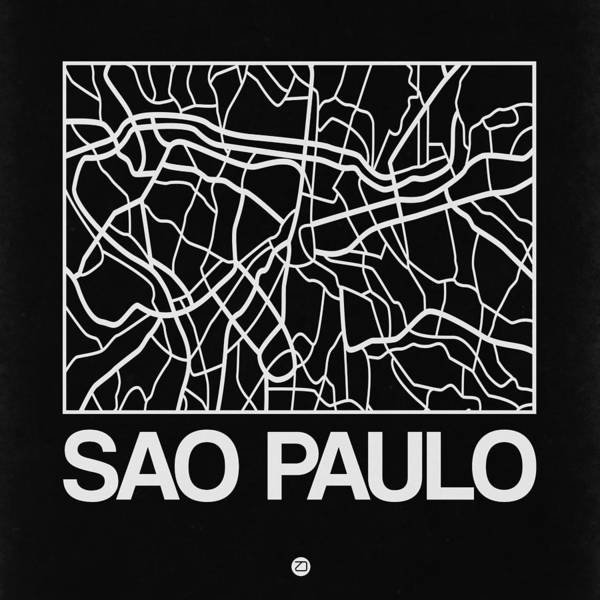 World Traveler Wall Art - Digital Art - Black Map Of Sao Paulo by Naxart Studio