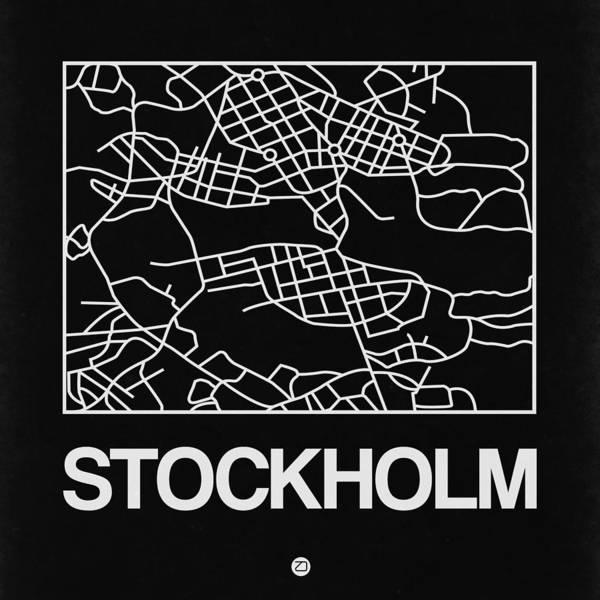 Wall Art - Digital Art - Black Map Of Stockholm by Naxart Studio