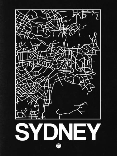 World Traveler Wall Art - Digital Art - Black Map Of Sydney by Naxart Studio
