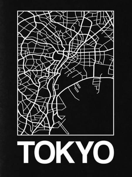 World Traveler Wall Art - Digital Art - Black Map Of Tokyo by Naxart Studio