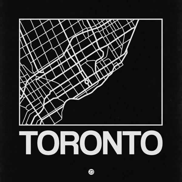 World Traveler Wall Art - Digital Art - Black Map Of Toronto by Naxart Studio
