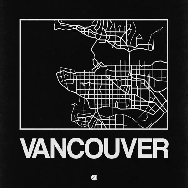 Black Map Of Vancouver Art Print