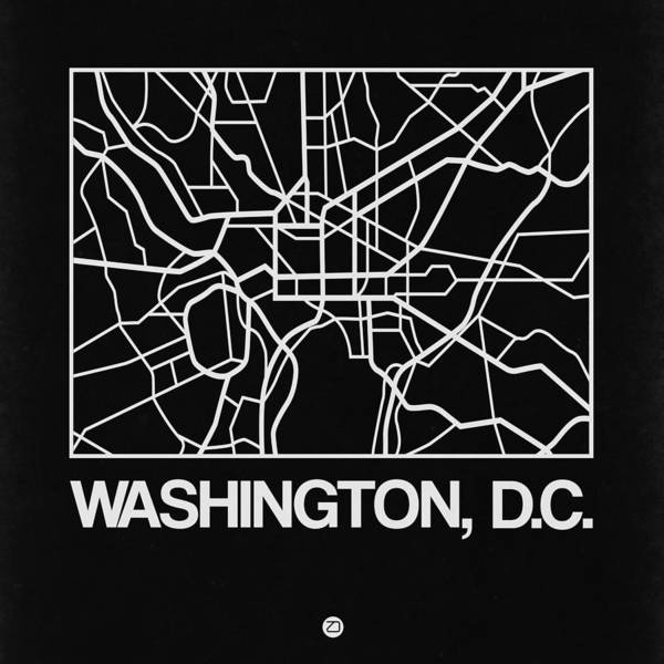 World Traveler Wall Art - Digital Art - Black Map Of Washington, D.c. by Naxart Studio