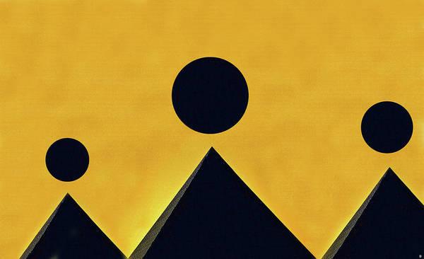Wall Art - Digital Art - Black Moons Over Pyramids by David Lee Thompson