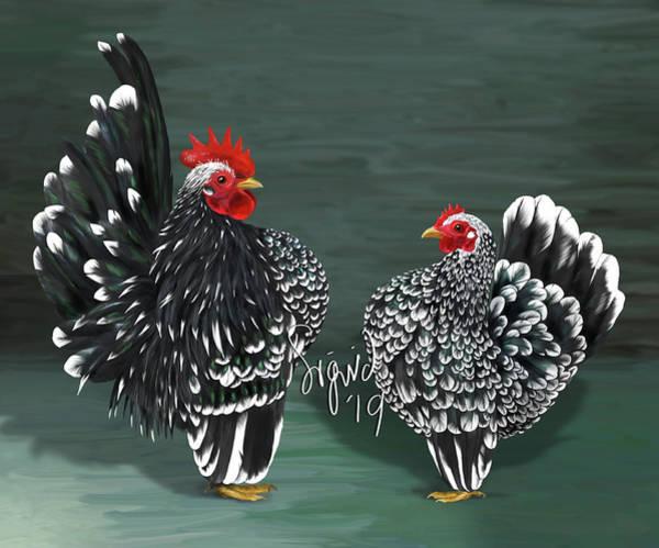 Digital Art - Black Mottled Serama Pair by Sigrid Van Dort