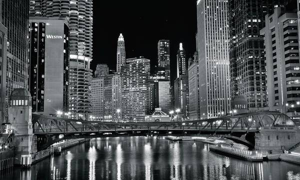 Wall Art - Photograph - Black Night On The Chicago River by Frozen in Time Fine Art Photography