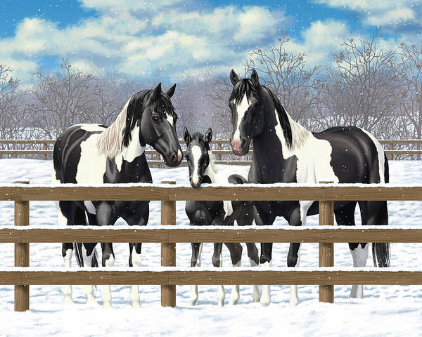 Wall Art - Painting - Black Paint Horses In Snow by Crista Forest