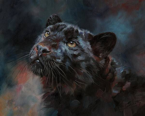 Painting - Black Panther 3 by David Stribbling