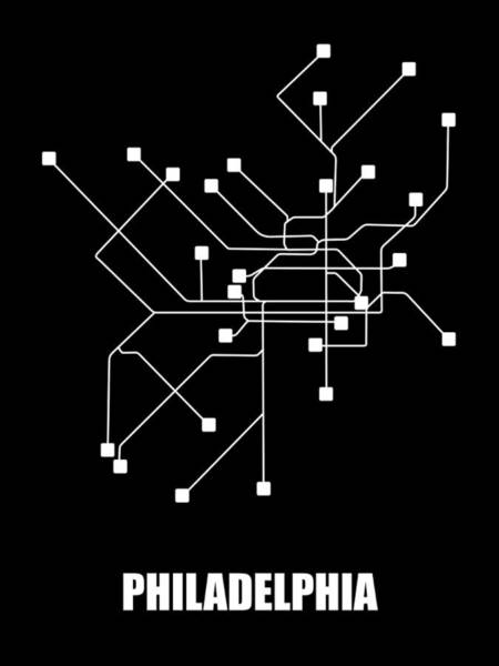 Wall Art - Digital Art - Black Philadelphia Subway Map by Naxart Studio