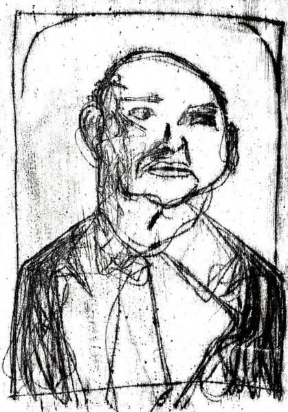 Drawing - Black Portrait Of A Man In A Tie by Artist Dot