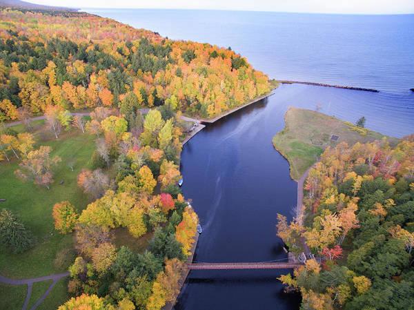 Photograph - Black River Harbor Autumn Aerial 10171701 by Rick Veldman