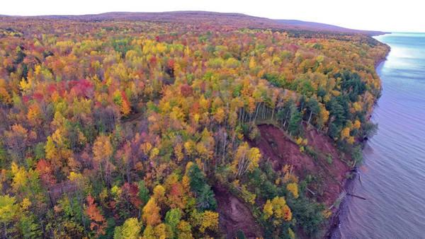 Photograph - Black River Harbor Autumn Aerial 10181701 by Rick Veldman