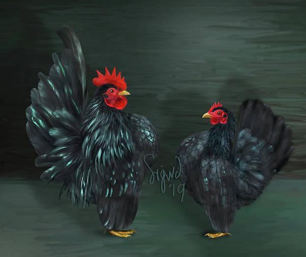 Digital Art - Black Serama Pair by Sigrid Van Dort